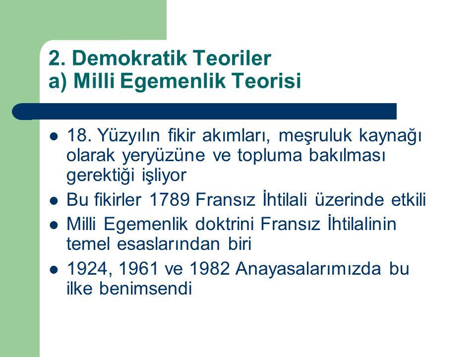 2. Demokratik Teoriler a) Milli Egemenlik Teorisi  18. Yüzyılın fikir akımları, meşruluk kaynağı olarak yeryüzüne ve topluma bakılması gerektiği işli
