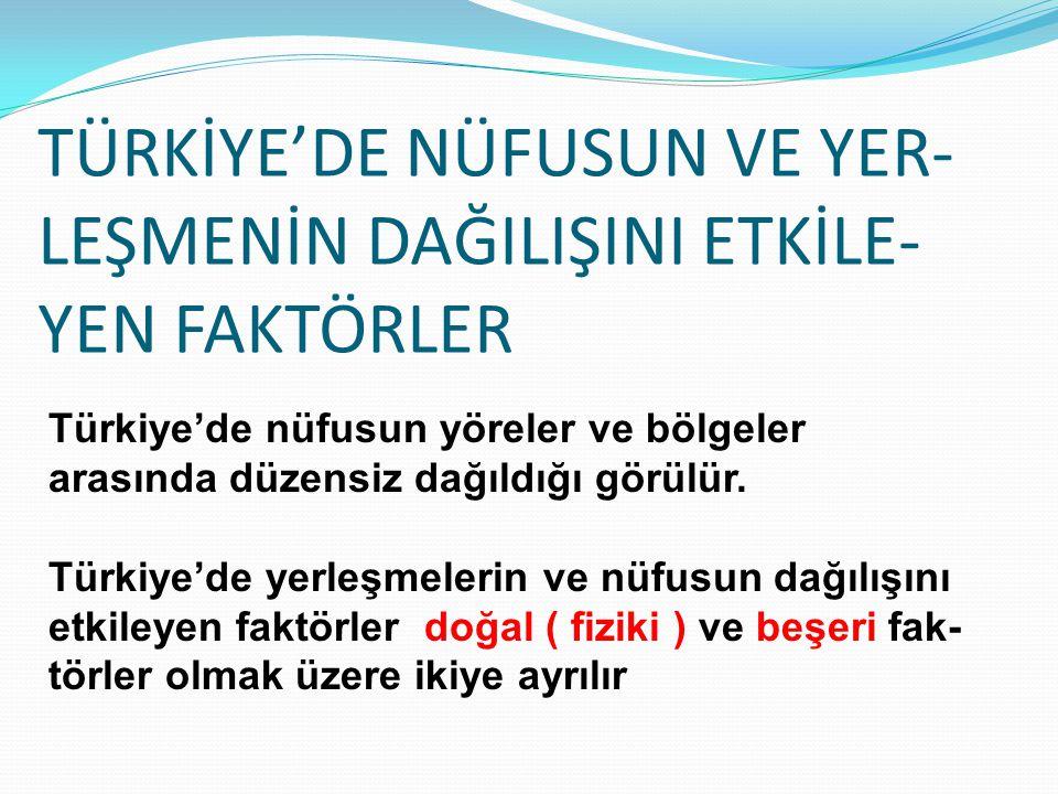TÜRKİYE'DE NÜFUSUN VE YER- LEŞMENİN DAĞILIŞINI ETKİLE- YEN FAKTÖRLER Türkiye'de nüfusun yöreler ve bölgeler arasında düzensiz dağıldığı görülür. Türki