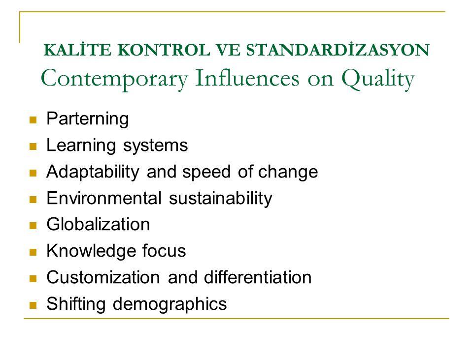 KALİTE KONTROL VE STANDARDİZASYON  Parterning  Learning systems  Adaptability and speed of change  Environmental sustainability  Globalization 