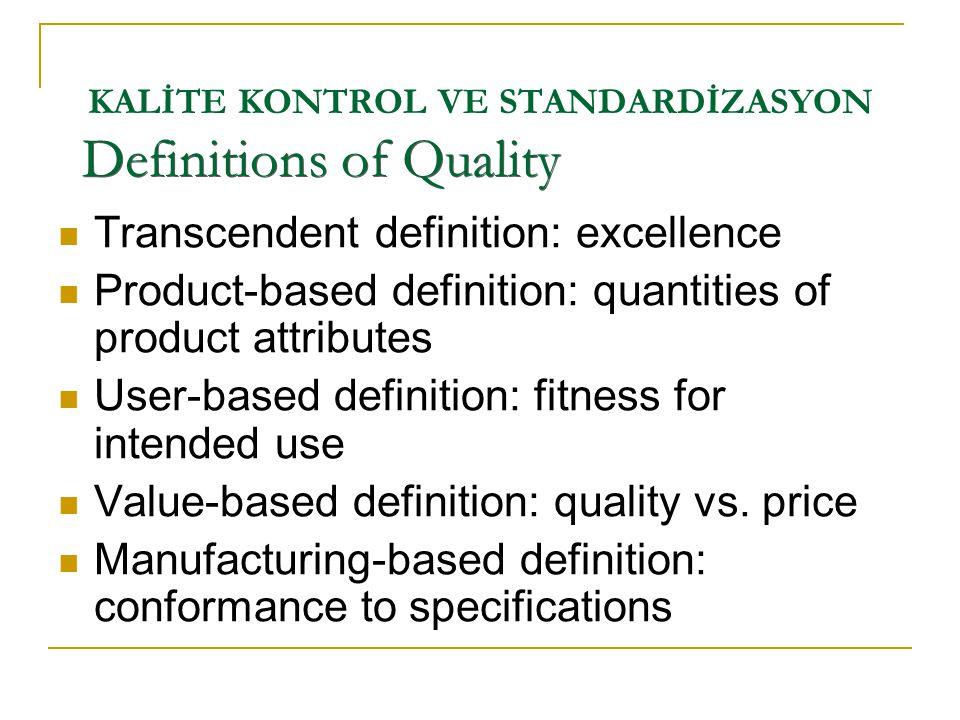 KALİTE KONTROL VE STANDARDİZASYON  Transcendent definition: excellence  Product-based definition: quantities of product attributes  User-based defi