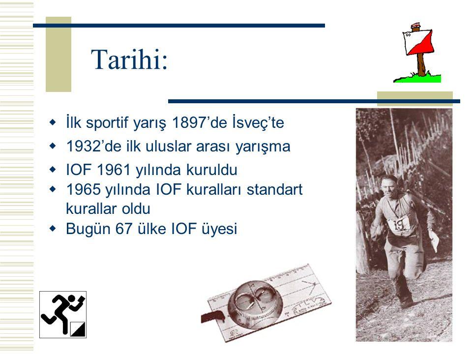 Tarihi:  İlk sportif yarış 1897'de İsveç'te  1932'de ilk uluslar arası yarışma  IOF 1961 yılında kuruldu  1965 yılında IOF kuralları standart kurallar oldu  Bugün 67 ülke IOF üyesi