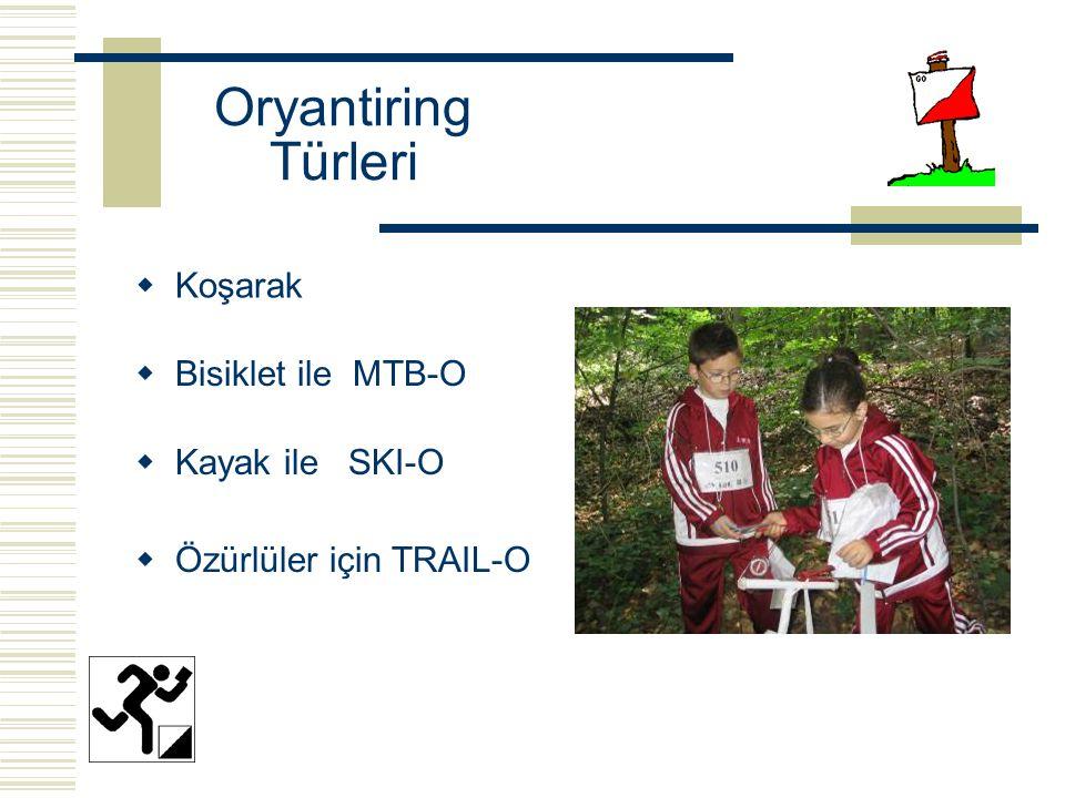 Oryantiring Türleri  Koşarak  Kayak ile SKI-O  Bisiklet ile MTB-O  Özürlüler için TRAIL-O