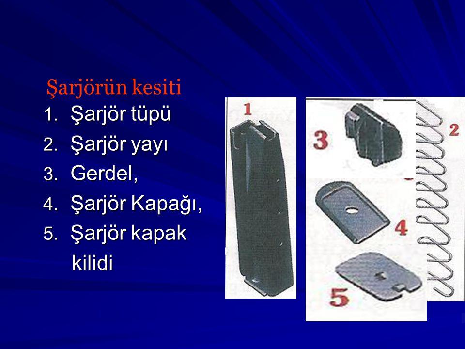 1.Şarjör tüpü 2. Şarjör yayı 3. Gerdel, 4. Şarjör Kapağı, 5.