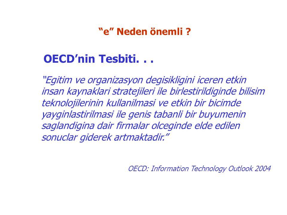 Egitim ve organizasyon degisikligini iceren etkin insan kaynaklari stratejileri ile birlestirildiginde bilisim teknolojilerinin kullanilmasi ve etkin bir bicimde yayginlastirilmasi ile genis tabanli bir buyumenin saglandigina dair firmalar olceginde elde edilen sonuclar giderek artmaktadir. OECD: Information Technology Outlook 2004 OECD'nin Tesbiti...