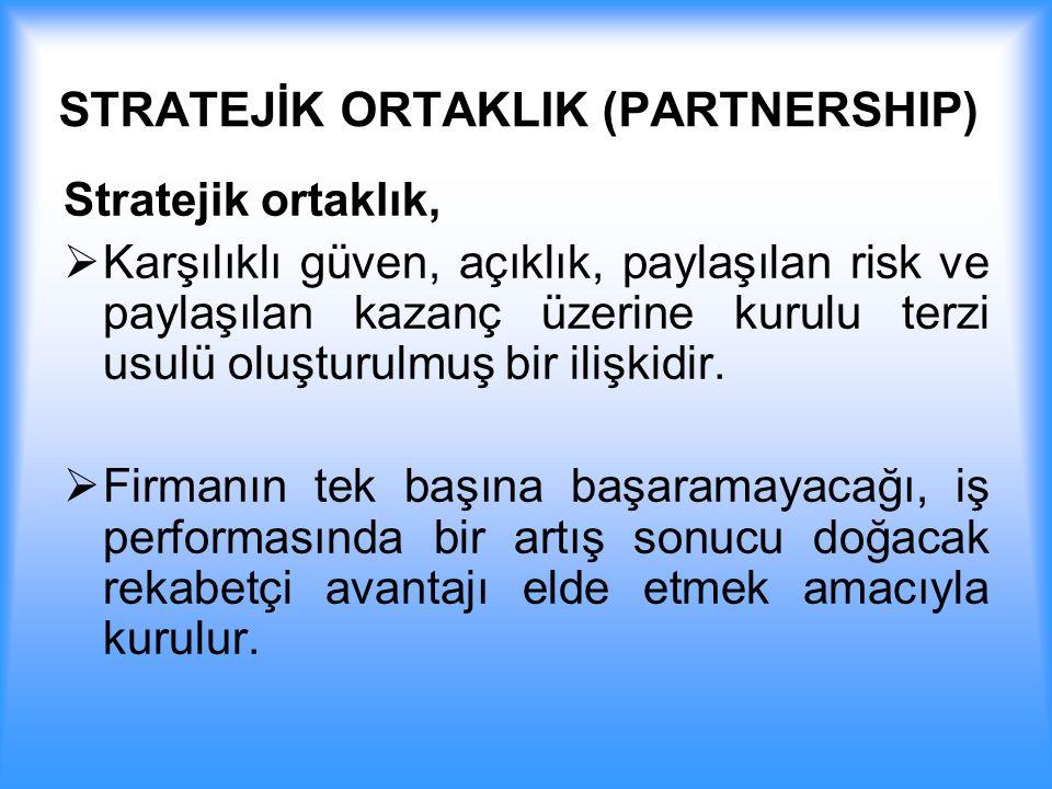 STRATEJİK ORTAKLIK (PARTNERSHIP) Stratejik ortaklık,  Karşılıklı güven, açıklık, paylaşılan risk ve paylaşılan kazanç üzerine kurulu terzi usulü oluş