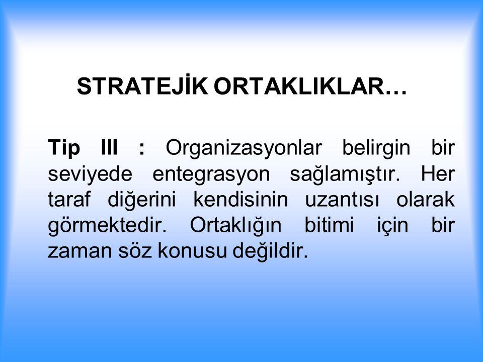 STRATEJİK ORTAKLIKLAR… Tip III : Organizasyonlar belirgin bir seviyede entegrasyon sağlamıştır. Her taraf diğerini kendisinin uzantısı olarak görmekte