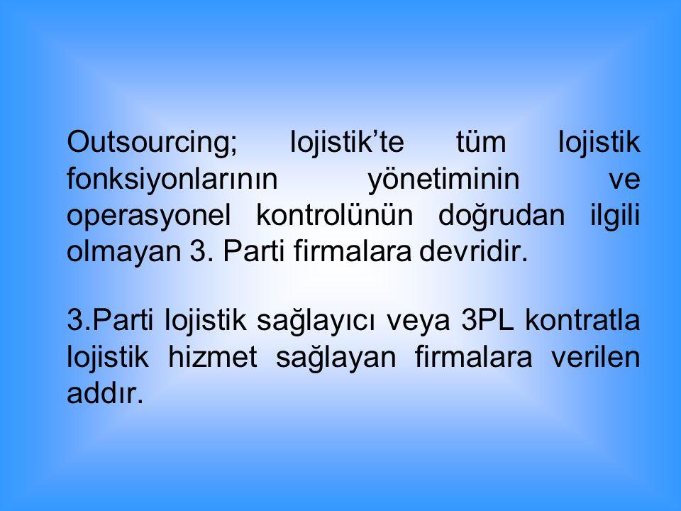 Outsourcing; lojistik'te tüm lojistik fonksiyonlarının yönetiminin ve operasyonel kontrolünün doğrudan ilgili olmayan 3. Parti firmalara devridir. 3.P
