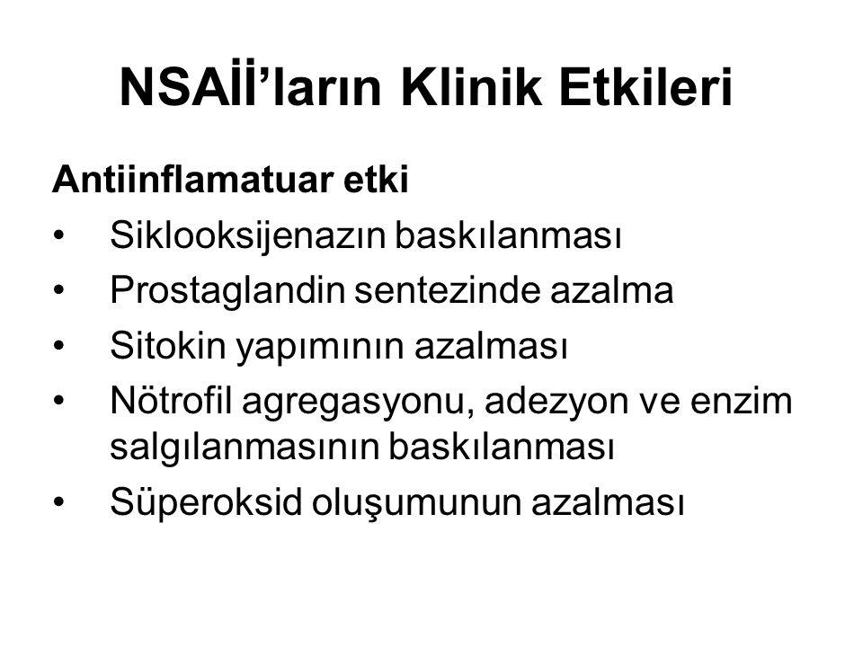 NSAİİ'ların Klinik Etkileri Antiinflamatuar etki •Siklooksijenazın baskılanması •Prostaglandin sentezinde azalma •Sitokin yapımının azalması •Nötrofil