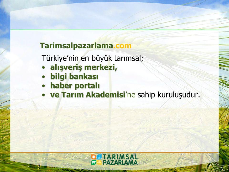 Tarım Akademisi Tarimsalpazarlama.com ile birlikte interneti yaygınlaştıran, Tarım Sektörüne teknolojik çözümler üreten bir organizasyon.