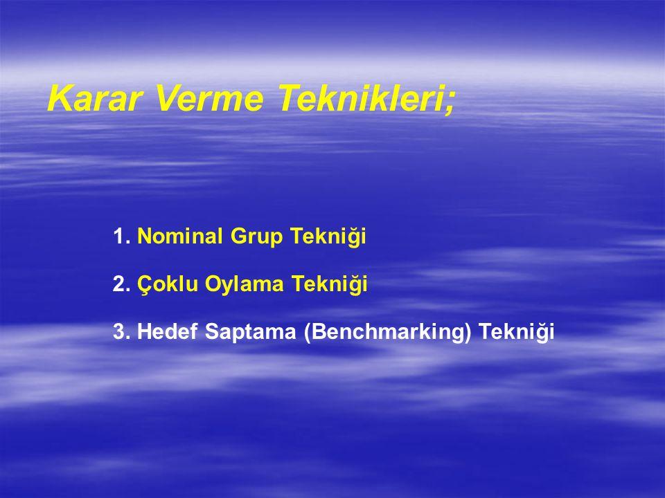 Karar Verme Teknikleri; 1. Nominal Grup Tekniği 2. Çoklu Oylama Tekniği 3. Hedef Saptama (Benchmarking) Tekniği