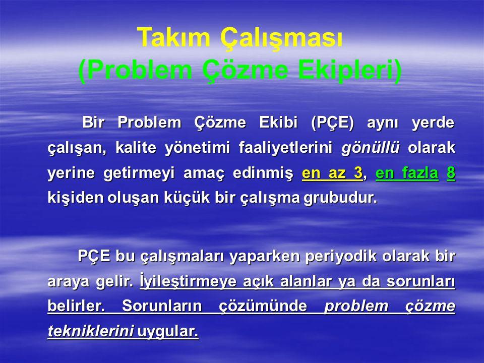 Takım Çalışması (Problem Çözme Ekipleri) Bir Problem Çözme Ekibi (PÇE) aynı yerde çalışan, kalite yönetimi faaliyetlerini gönüllü olarak yerine getirm