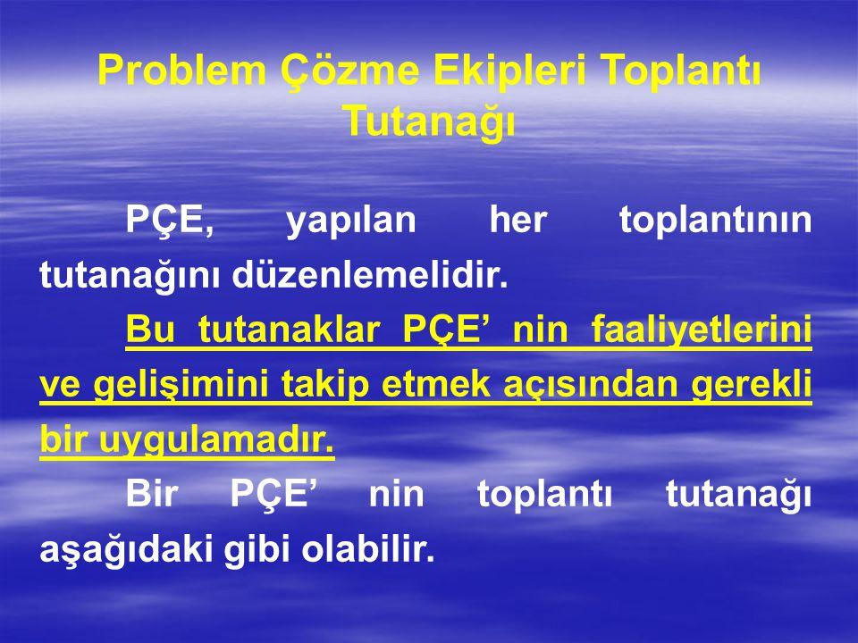 Problem Çözme Ekipleri Toplantı Tutanağı PÇE, yapılan her toplantının tutanağını düzenlemelidir. Bu tutanaklar PÇE' nin faaliyetlerini ve gelişimini t