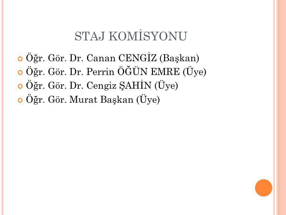 STAJ KOMİSYONU Öğr. Gör. Dr. Canan CENGİZ (Başkan) Öğr. Gör. Dr. Perrin ÖĞÜN EMRE (Üye) Öğr. Gör. Dr. Cengiz ŞAHİN (Üye) Öğr. Gör. Murat Başkan (Üye)
