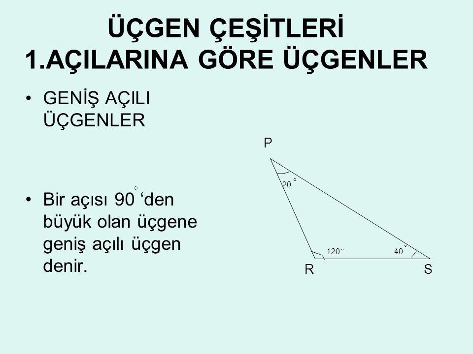 ÜÇGEN ÇEŞİTLERİ 1.AÇILARINA GÖRE ÜÇGENLER •D•DAR AÇILI ÜÇGEN •Ü•Üç açısı 90 'den küçük olan üçgene dar açılı üçgen denir. •D•DİK AÇILI ÜÇGEN •B•Bir aç
