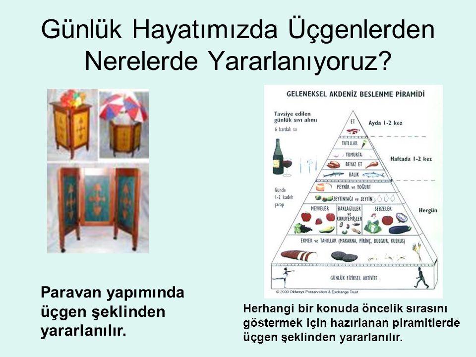 Üçgeni Günlük Hayatımızda Nerelerde Kullanıyoruz? Flama yapımında üçgenlerden yararlanılır. Denizcilikte yelken yapımında üçgenlerden yararlanılır.