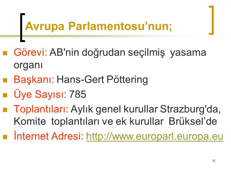 16 Avrupa Parlamentosu'nun;  Görevi: AB'nin doğrudan seçilmiş yasama organı  Başkanı: Hans-Gert Pöttering  Üye Sayısı: 785  Toplantıları: Aylık ge