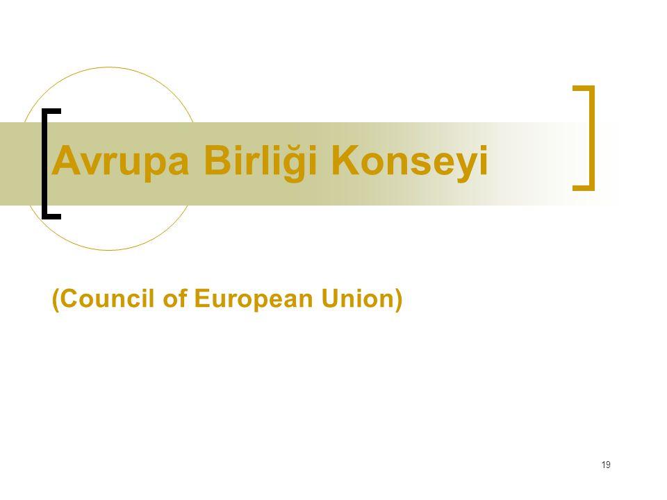 19 Avrupa Birliği Konseyi (Council of European Union)