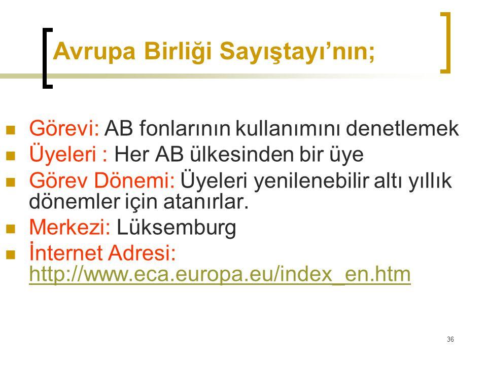 36 Avrupa Birliği Sayıştayı'nın;  Görevi: AB fonlarının kullanımını denetlemek  Üyeleri : Her AB ülkesinden bir üye  Görev Dönemi: Üyeleri yenilene