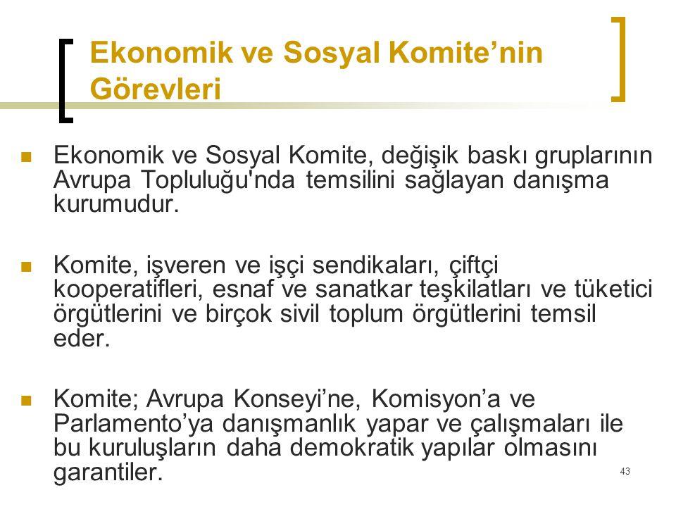 43 Ekonomik ve Sosyal Komite'nin Görevleri  Ekonomik ve Sosyal Komite, değişik baskı gruplarının Avrupa Topluluğu'nda temsilini sağlayan danışma kuru