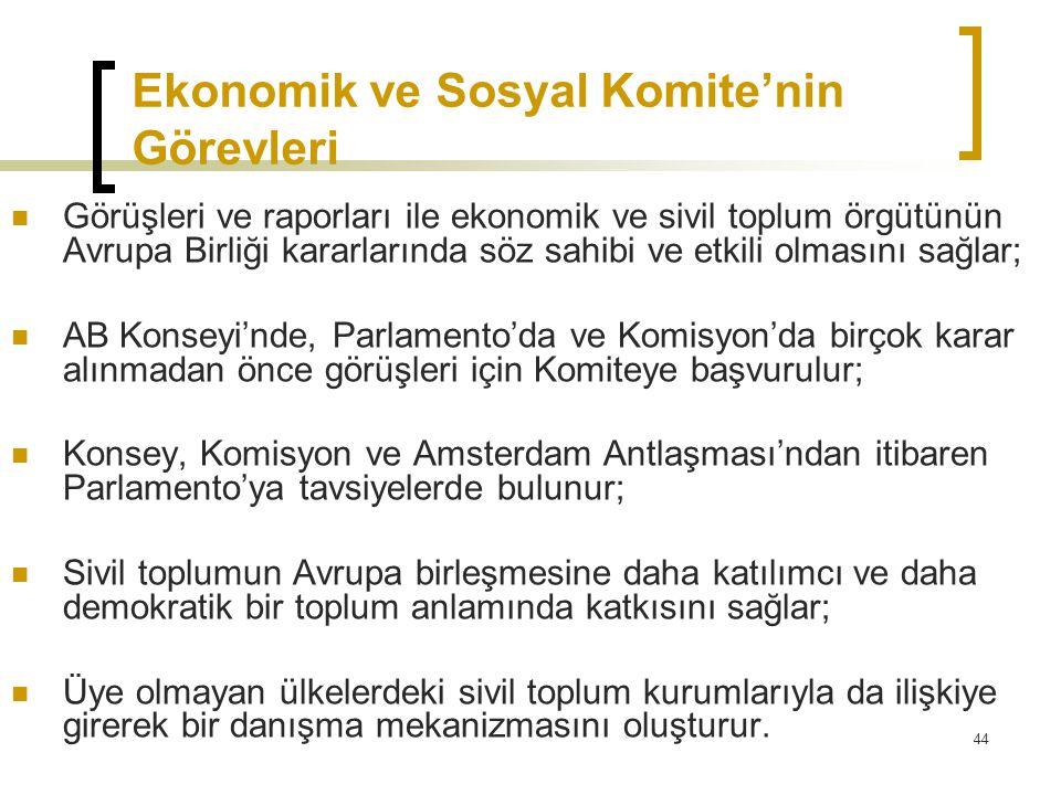 44 Ekonomik ve Sosyal Komite'nin Görevleri  Görüşleri ve raporları ile ekonomik ve sivil toplum örgütünün Avrupa Birliği kararlarında söz sahibi ve e