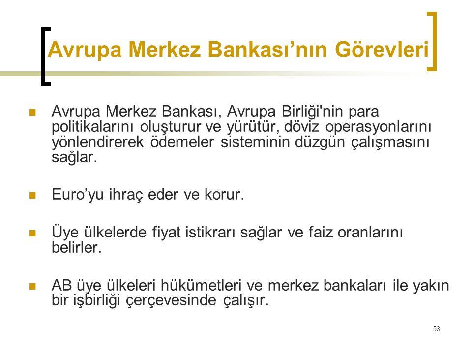 53 Avrupa Merkez Bankası'nın Görevleri  Avrupa Merkez Bankası, Avrupa Birliği'nin para politikalarını oluşturur ve yürütür, döviz operasyonlarını yön