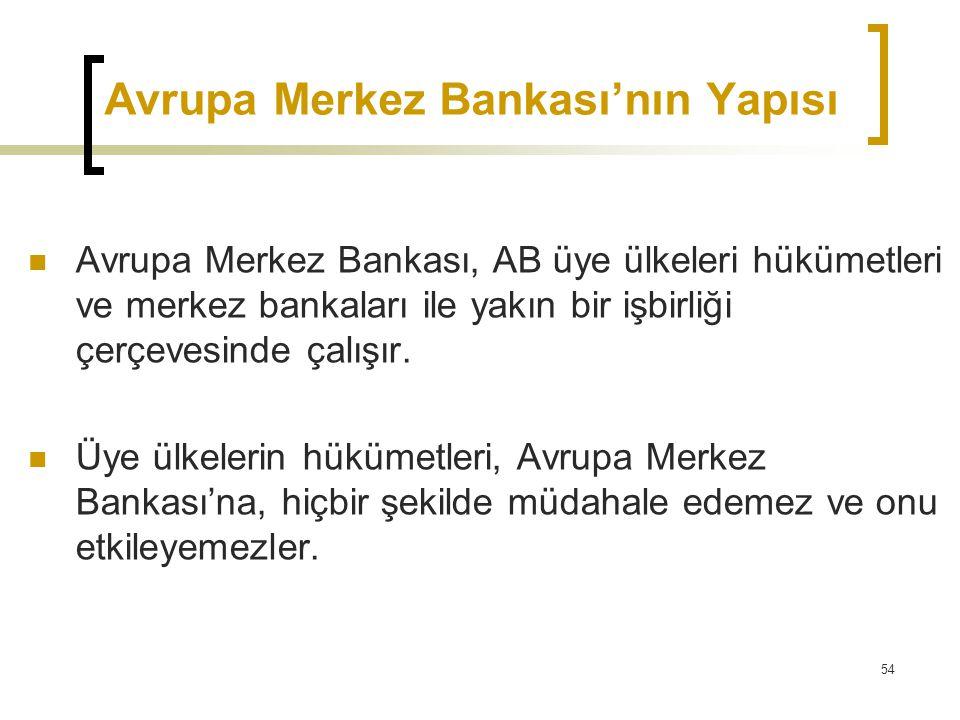 54 Avrupa Merkez Bankası'nın Yapısı  Avrupa Merkez Bankası, AB üye ülkeleri hükümetleri ve merkez bankaları ile yakın bir işbirliği çerçevesinde çalı