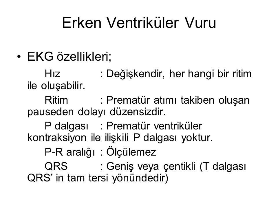 Erken Ventriküler Vuru •EKG özellikleri; Hız: Değişkendir, her hangi bir ritim ile oluşabilir.