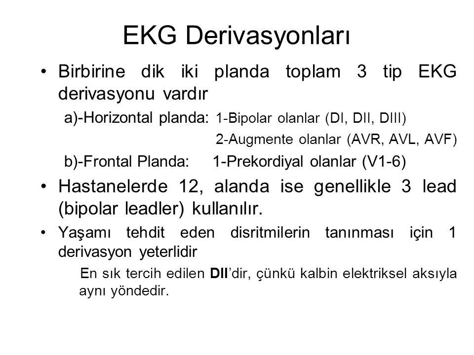 EKG Derivasyonları •Birbirine dik iki planda toplam 3 tip EKG derivasyonu vardır a)-Horizontal planda: 1-Bipolar olanlar (DI, DII, DIII) 2-Augmente olanlar (AVR, AVL, AVF) b)-Frontal Planda: 1-Prekordiyal olanlar (V1-6) •Hastanelerde 12, alanda ise genellikle 3 lead (bipolar leadler) kullanılır.