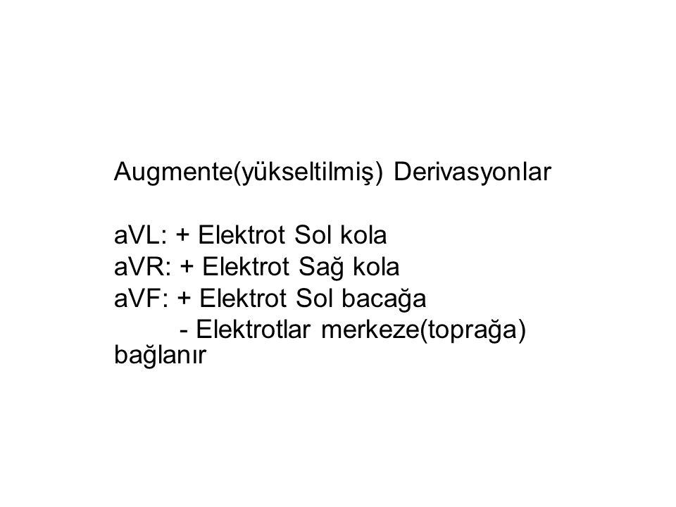 Augmente(yükseltilmiş) Derivasyonlar aVL: + Elektrot Sol kola aVR: + Elektrot Sağ kola aVF: + Elektrot Sol bacağa - Elektrotlar merkeze(toprağa) bağlanır