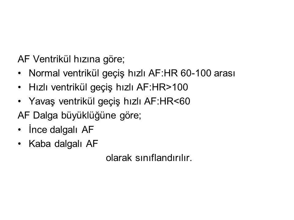AF Ventrikül hızına göre; •Normal ventrikül geçiş hızlı AF:HR 60-100 arası •Hızlı ventrikül geçiş hızlı AF:HR>100 •Yavaş ventrikül geçiş hızlı AF:HR<60 AF Dalga büyüklüğüne göre; •İnce dalgalı AF •Kaba dalgalı AF olarak sınıflandırılır.