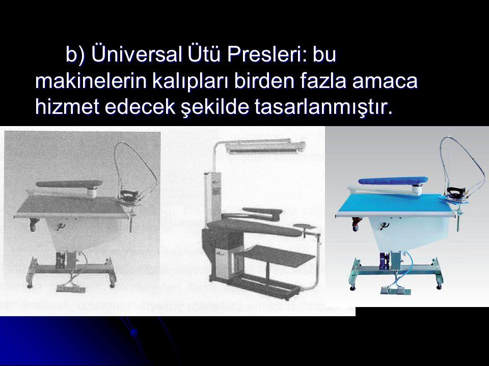 b) Üniversal Ütü Presleri: bu makinelerin kalıpları birden fazla amaca hizmet edecek şekilde tasarlanmıştır.