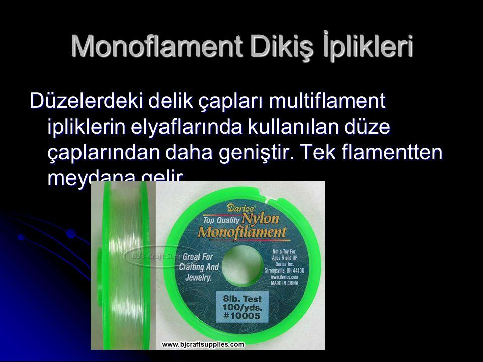 Monoflament Dikiş İplikleri Düzelerdeki delik çapları multiflament ipliklerin elyaflarında kullanılan düze çaplarından daha geniştir. Tek flamentten m
