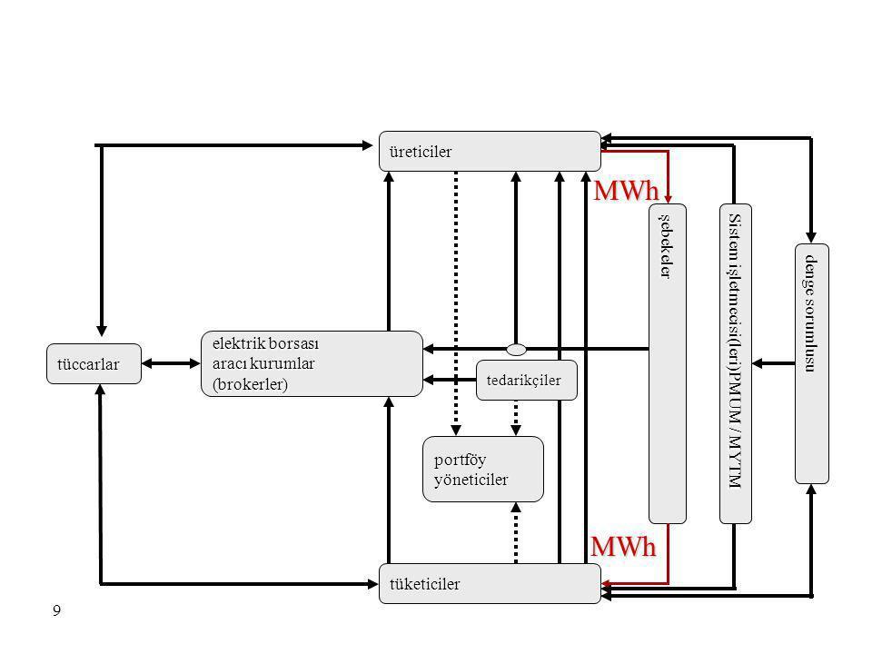 9 denge sorumlusu portföy yöneticiler tüccarlar elektrik borsası aracı kurumlar (brokerler) tedarikçiler üreticiler tüketiciler Sistem işletmecisi(ler