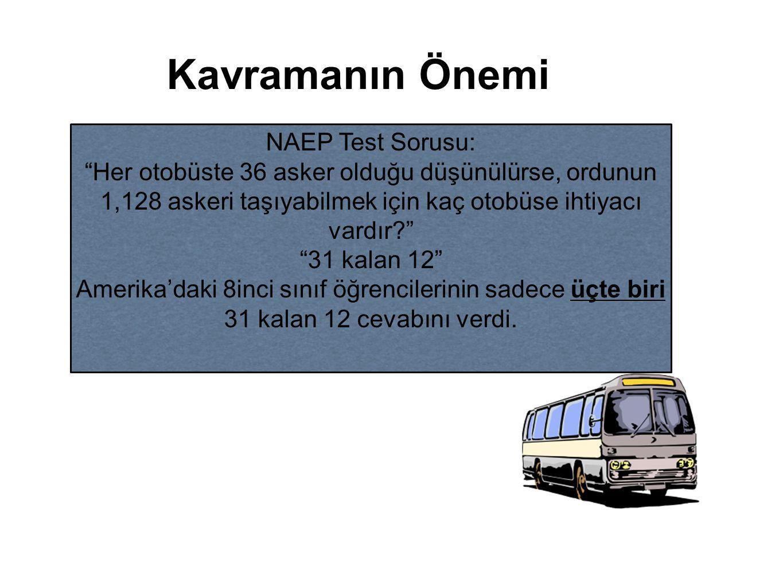 """Kavramanın Önemi NAEP Test Sorusu: """"Her otobüste 36 asker olduğu düşünülürse, ordunun 1,128 askeri taşıyabilmek için kaç otobüse ihtiyacı vardır?"""" """"31"""
