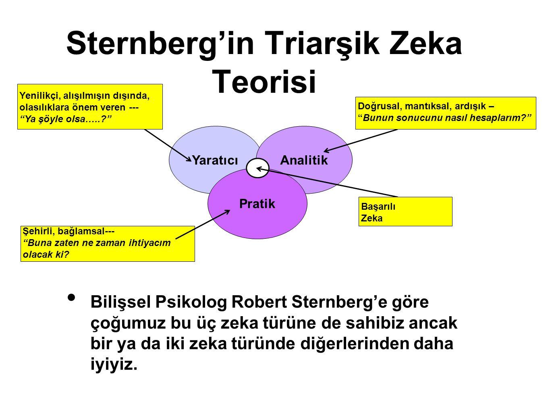 • Bilişsel Psikolog Robert Sternberg'e göre çoğumuz bu üç zeka türüne de sahibiz ancak bir ya da iki zeka türünde diğerlerinden daha iyiyiz. Sternberg