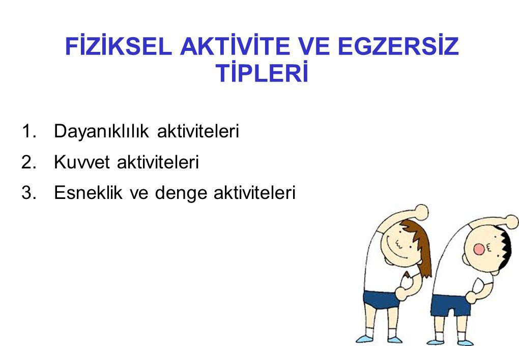 FİZİKSEL AKTİVİTE VE EGZERSİZ TİPLERİ 1.Dayanıklılık aktiviteleri 2.Kuvvet aktiviteleri 3.Esneklik ve denge aktiviteleri