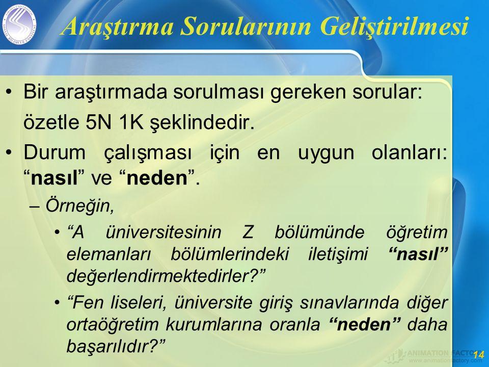 14 Araştırma Sorularının Geliştirilmesi •Bir araştırmada sorulması gereken sorular: özetle 5N 1K şeklindedir.
