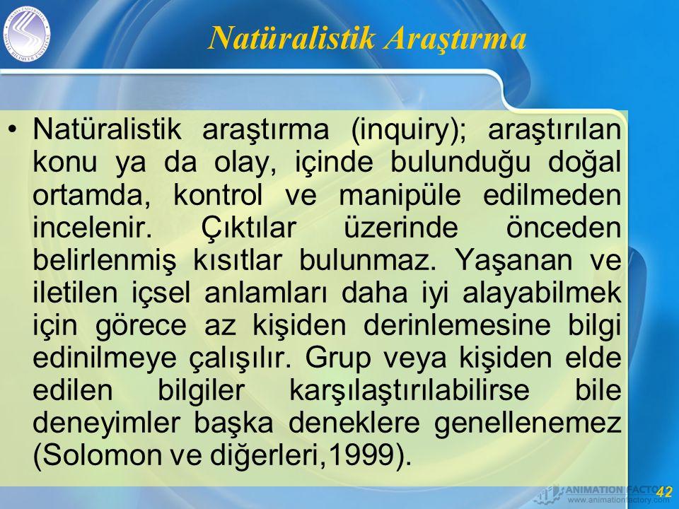 42 Natüralistik Araştırma •Natüralistik araştırma (inquiry); araştırılan konu ya da olay, içinde bulunduğu doğal ortamda, kontrol ve manipüle edilmeden incelenir.