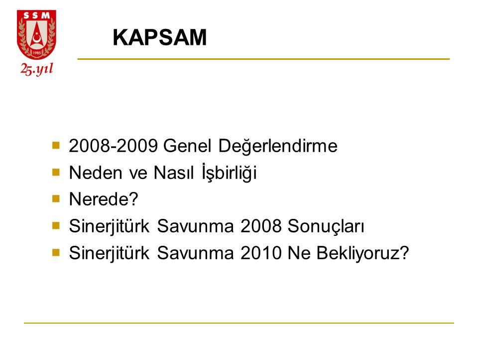 KAPSAM  2008-2009 Genel Değerlendirme  Neden ve Nasıl İşbirliği  Nerede?  Sinerjitürk Savunma 2008 Sonuçları  Sinerjitürk Savunma 2010 Ne Bekliyo