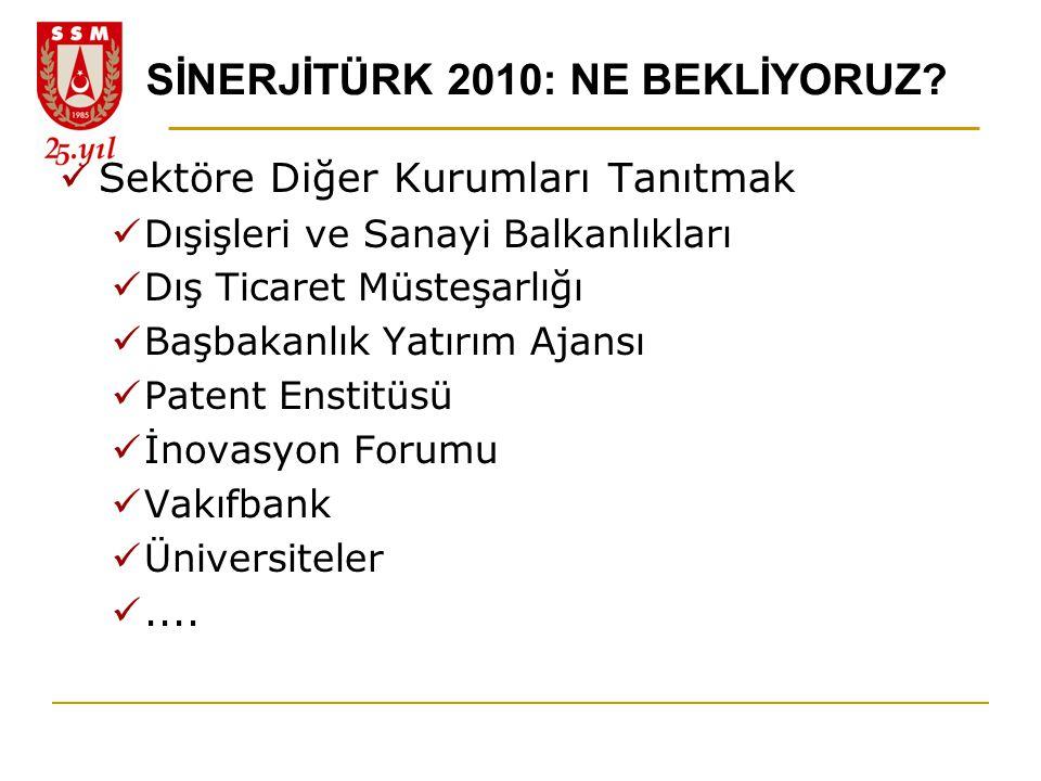 SİNERJİTÜRK 2010: NE BEKLİYORUZ?  Sektöre Diğer Kurumları Tanıtmak  Dışişleri ve Sanayi Balkanlıkları  Dış Ticaret Müsteşarlığı  Başbakanlık Yatır