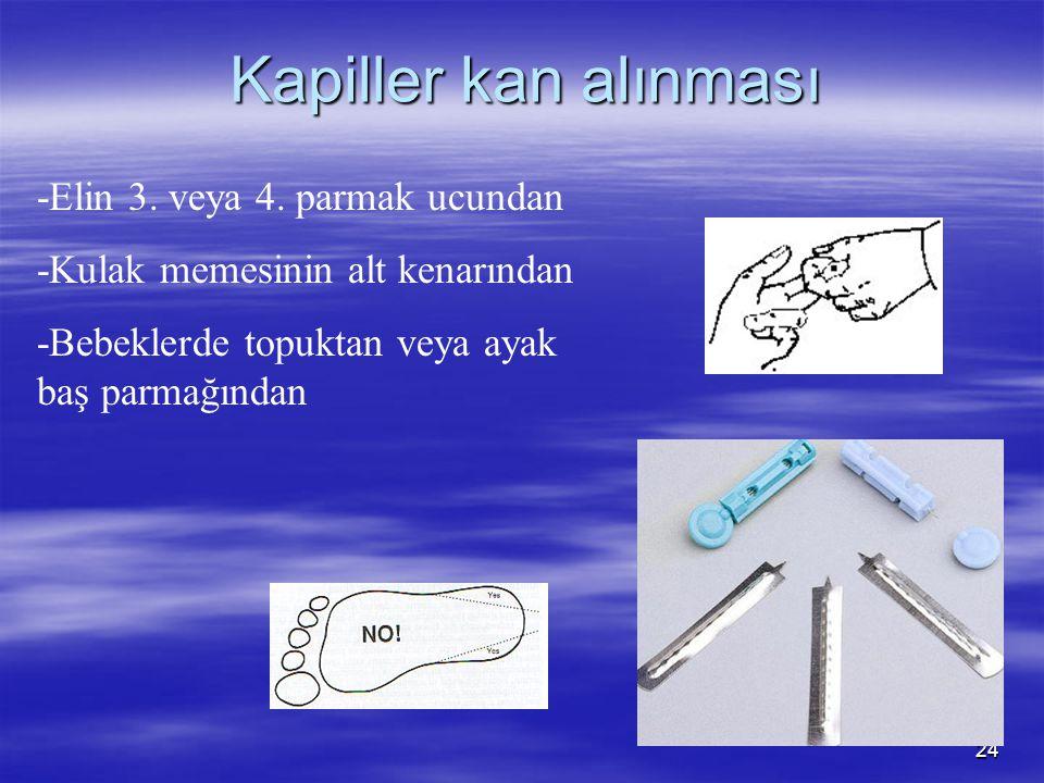 24 Kapiller kan alınması -Elin 3. veya 4. parmak ucundan -Kulak memesinin alt kenarından -Bebeklerde topuktan veya ayak baş parmağından