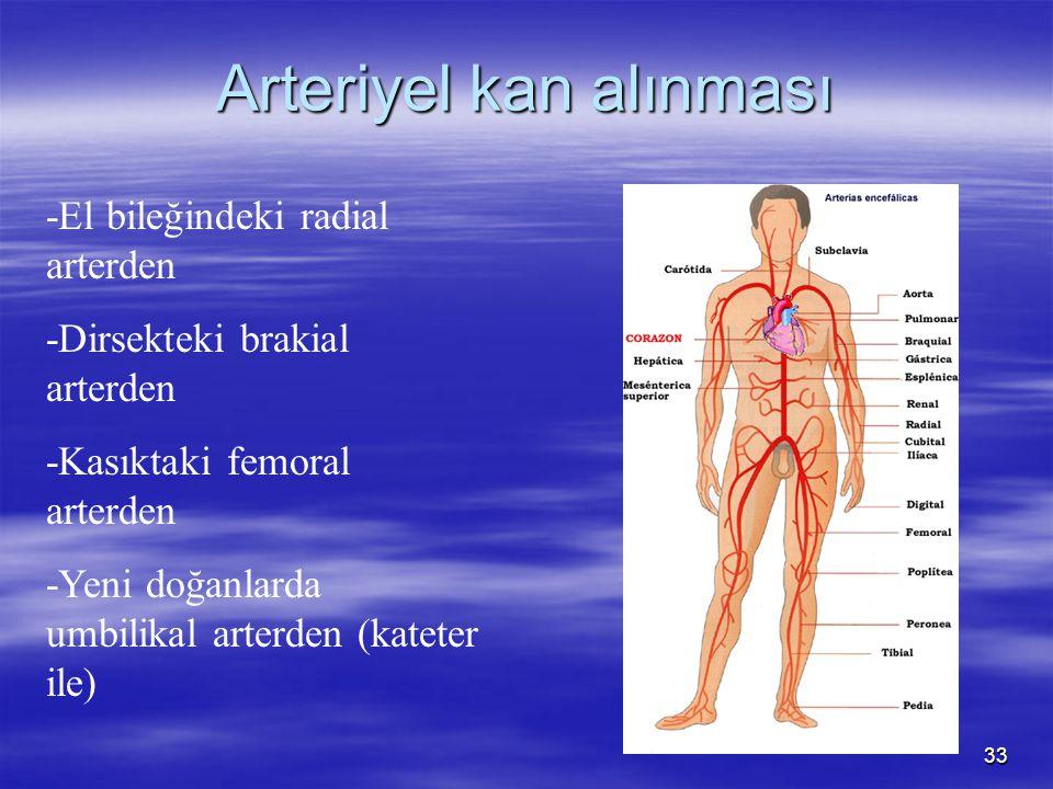 33 Arteriyel kan alınması -El bileğindeki radial arterden -Dirsekteki brakial arterden -Kasıktaki femoral arterden -Yeni doğanlarda umbilikal arterden (kateter ile)