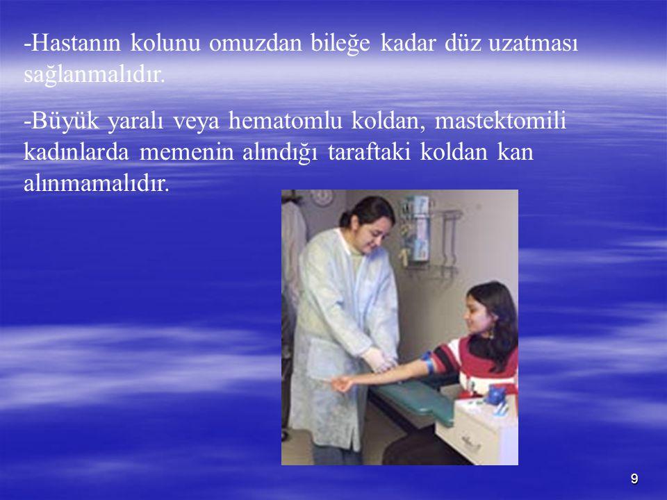 10 -Hastadan ne kadar hacimde kan alınacağı belirlenmeli, istenen testler için uygun sayıda ve türde tüp ve uygun iğne seçilmelidir.