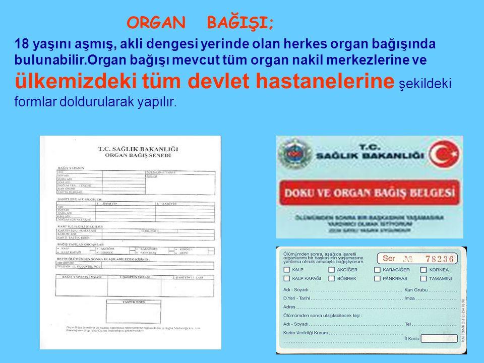18 yaşını aşmış, akli dengesi yerinde olan herkes organ bağışında bulunabilir.Organ bağışı mevcut tüm organ nakil merkezlerine ve ülkemizdeki tüm devlet hastanelerine şekildeki formlar doldurularak yapılır.