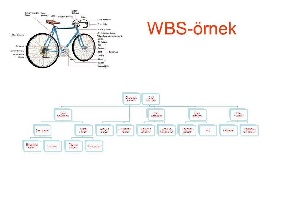 WBS-örnek Dağ bisikleti Şasi sistemleri Şasi yapısı Birleştirici sistem borular Çatal sistemi Taşıyıcı sistem Boru yapısı Oturacak sistemi Örtü ve dol