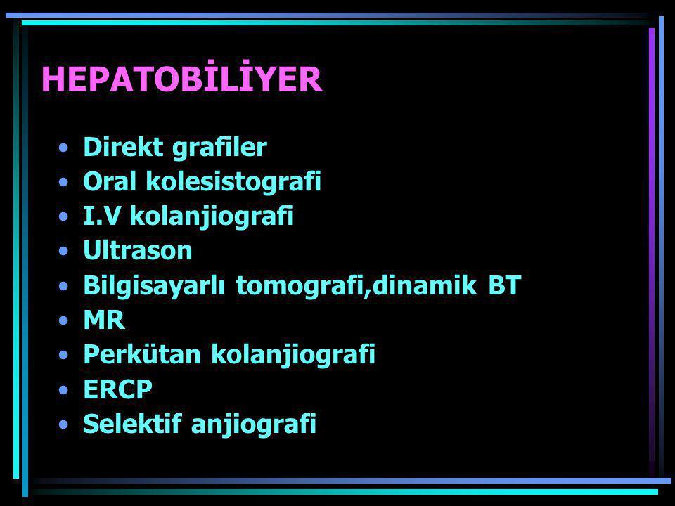 HEPATOBİLİYER •Direkt grafiler •Oral kolesistografi •I.V kolanjiografi •Ultrason •Bilgisayarlı tomografi,dinamik BT •MR •Perkütan kolanjiografi •ERCP