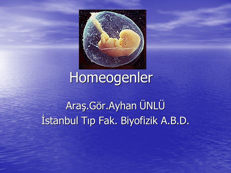 Homeogenler Araş.Gör.Ayhan ÜNLÜ İstanbul Tıp Fak. Biyofizik A.B.D.