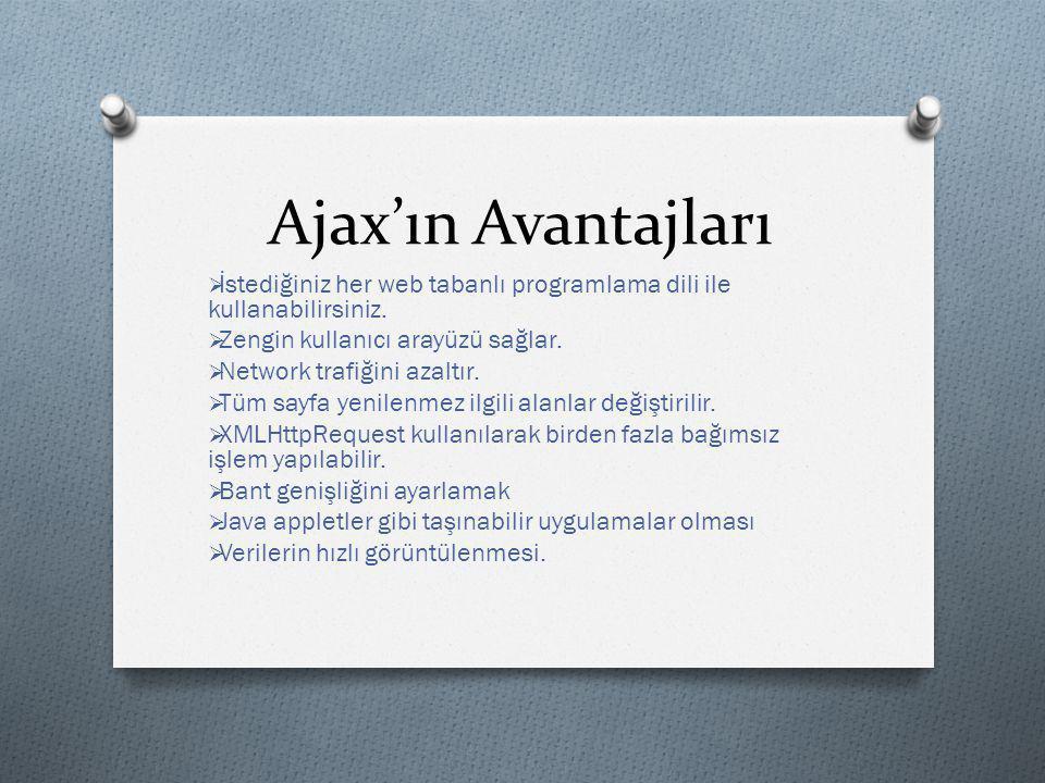 Ajax'ın Avantajları  İstediğiniz her web tabanlı programlama dili ile kullanabilirsiniz.  Zengin kullanıcı arayüzü sağlar.  Network trafiğini azalt