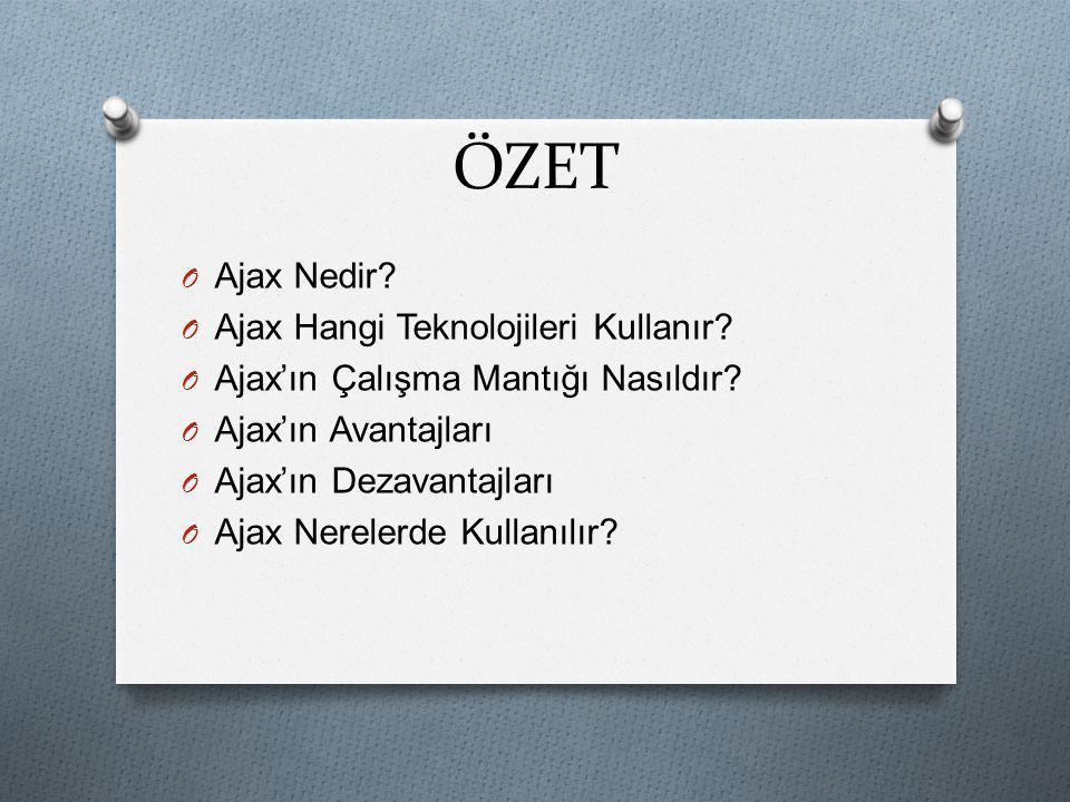 ÖZET O Ajax Nedir? O Ajax Hangi Teknolojileri Kullanır? O Ajax'ın Çalışma Mantığı Nasıldır? O Ajax'ın Avantajları O Ajax'ın Dezavantajları O Ajax Nere