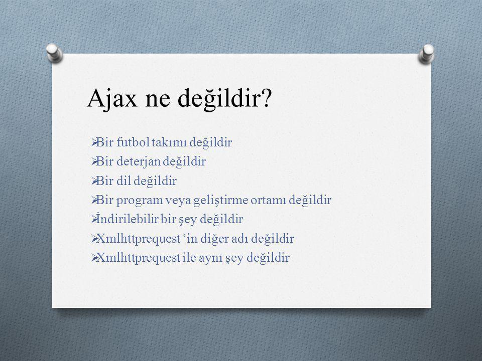 Ajax ne değildir?  Bir futbol takımı değildir  Bir deterjan değildir  Bir dil değildir  Bir program veya geliştirme ortamı değildir  İndirilebili